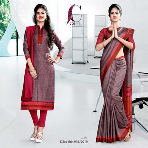 MAROON FANCY SCHOOL UNIFORM SAREE SALWAR COMBO