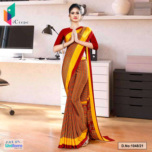 Maroon Gold Multi Color Print Premium Italian Silk Crepe Uniform Sarees for Hotel Staff