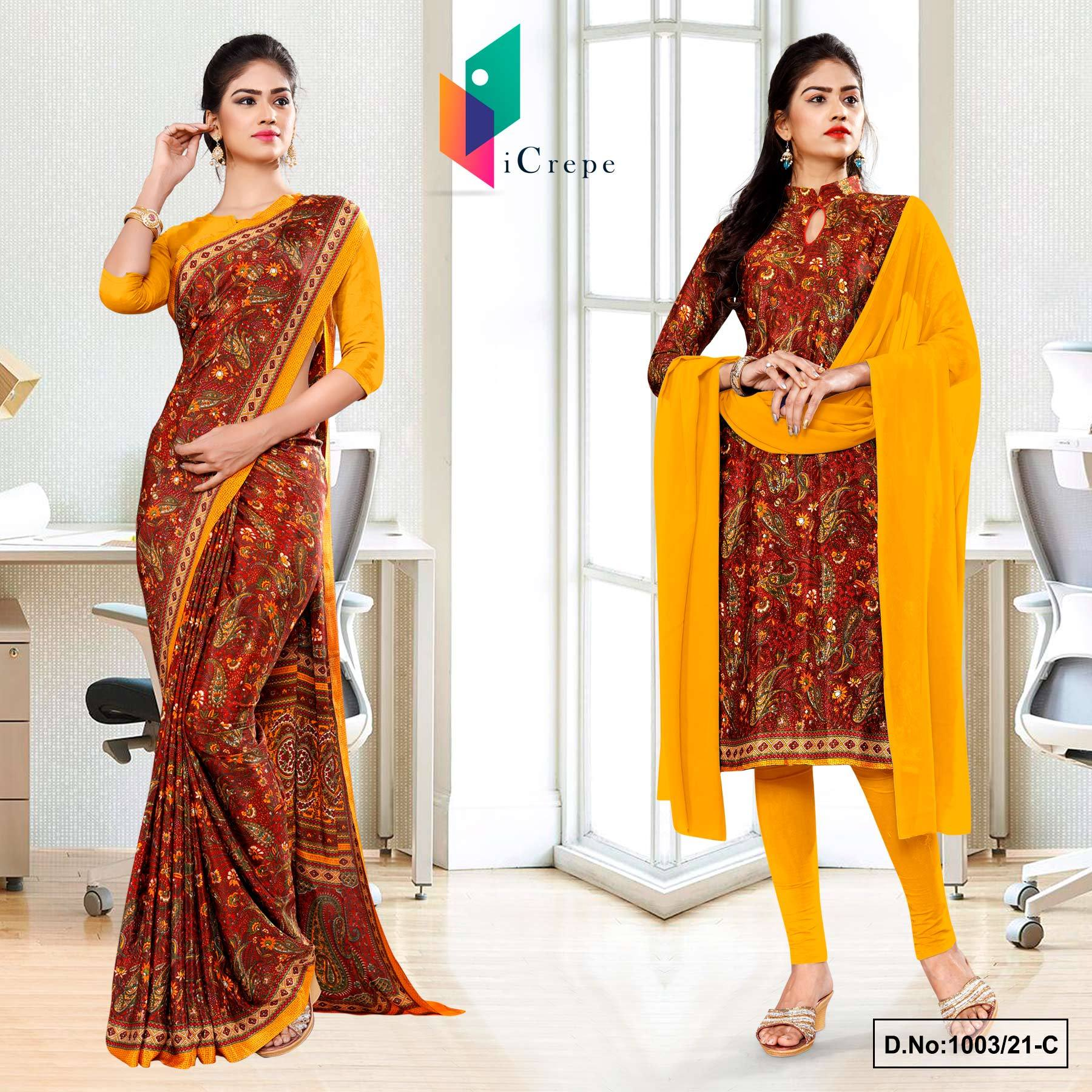 Maroon Gold Premium Paisley Print Italian Crepe Saree Salwar Combo for Office Uniform Sarees