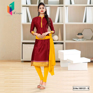 Marron Yellow Italian Silk Crepe Salwar Kameez for School Uniform Sarees