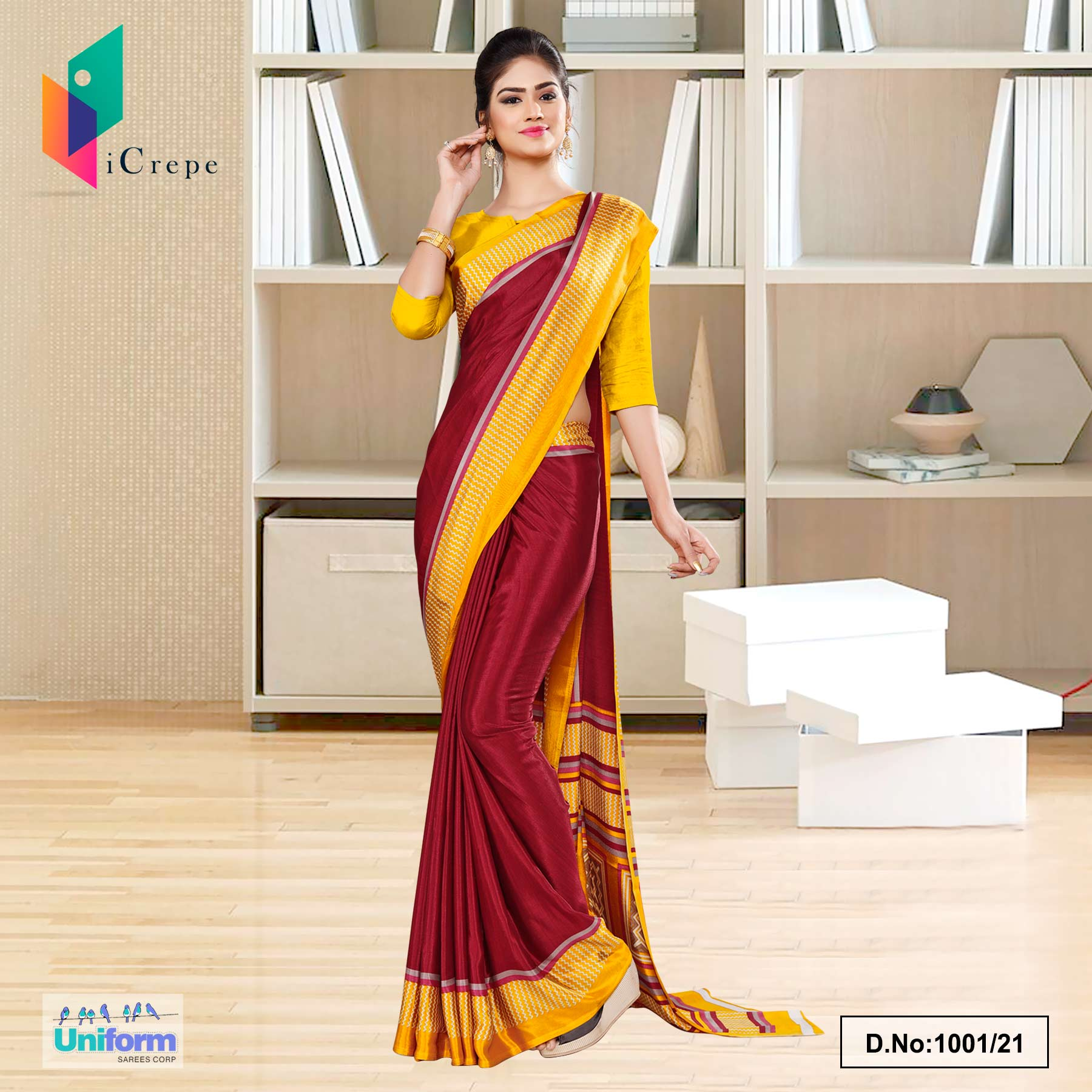 Marron Yellow Italian Silk Crepe Saree for School Uniform Sarees
