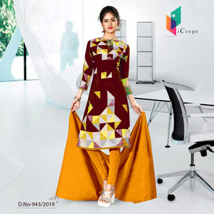 YELLOW AND RED CREPE SILK INSTITUTE UNIFORM SALWAR KAMEEZ