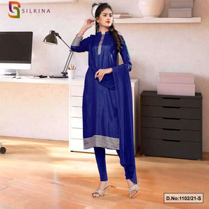 Navy Blue Plain Border Premium Polycotton Raw Silk Salwar Kameez for Teachers Uniform Sarees