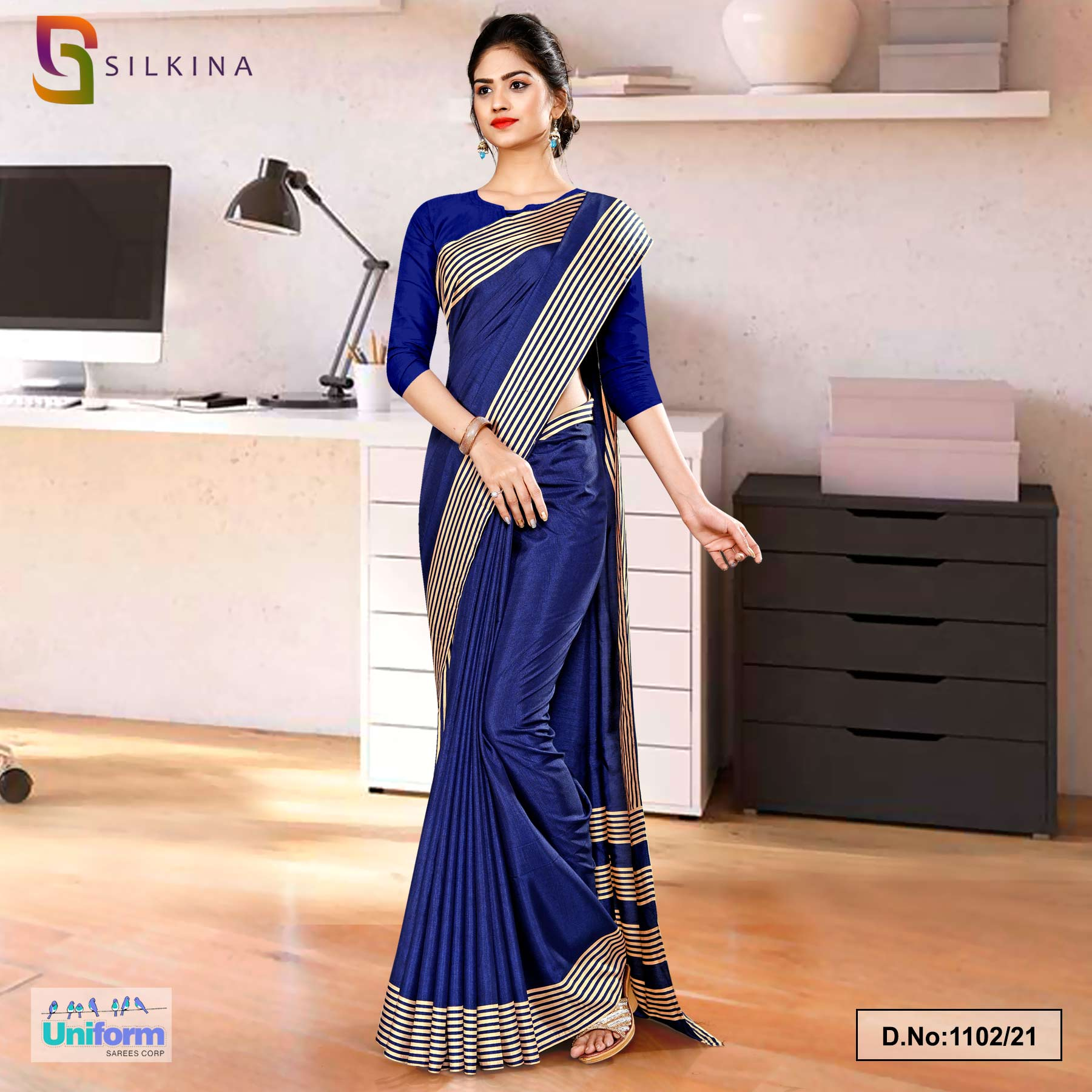 Navy Blue Plain Border Premium Polycotton Raw Silk Saree for Teachers Uniform Sarees