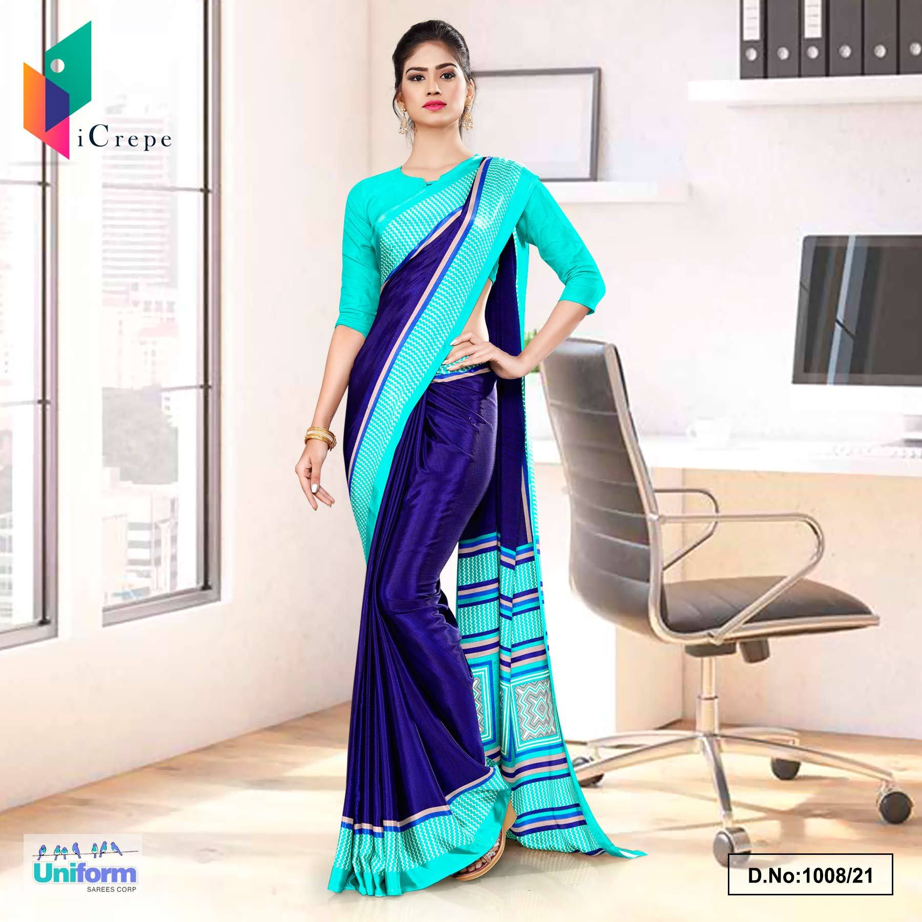 Navy Blue Sea Green Premium Italian Silk Crepe Saree for Front Office Uniform Sarees