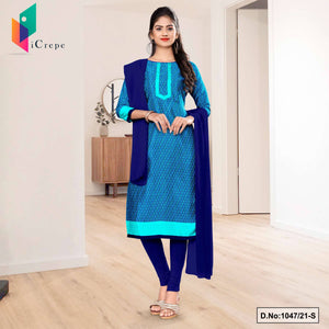 Navy Blue Sea Green Small Print Premium Italian Silk Crepe Uniform Salwar Kameez for Institutions