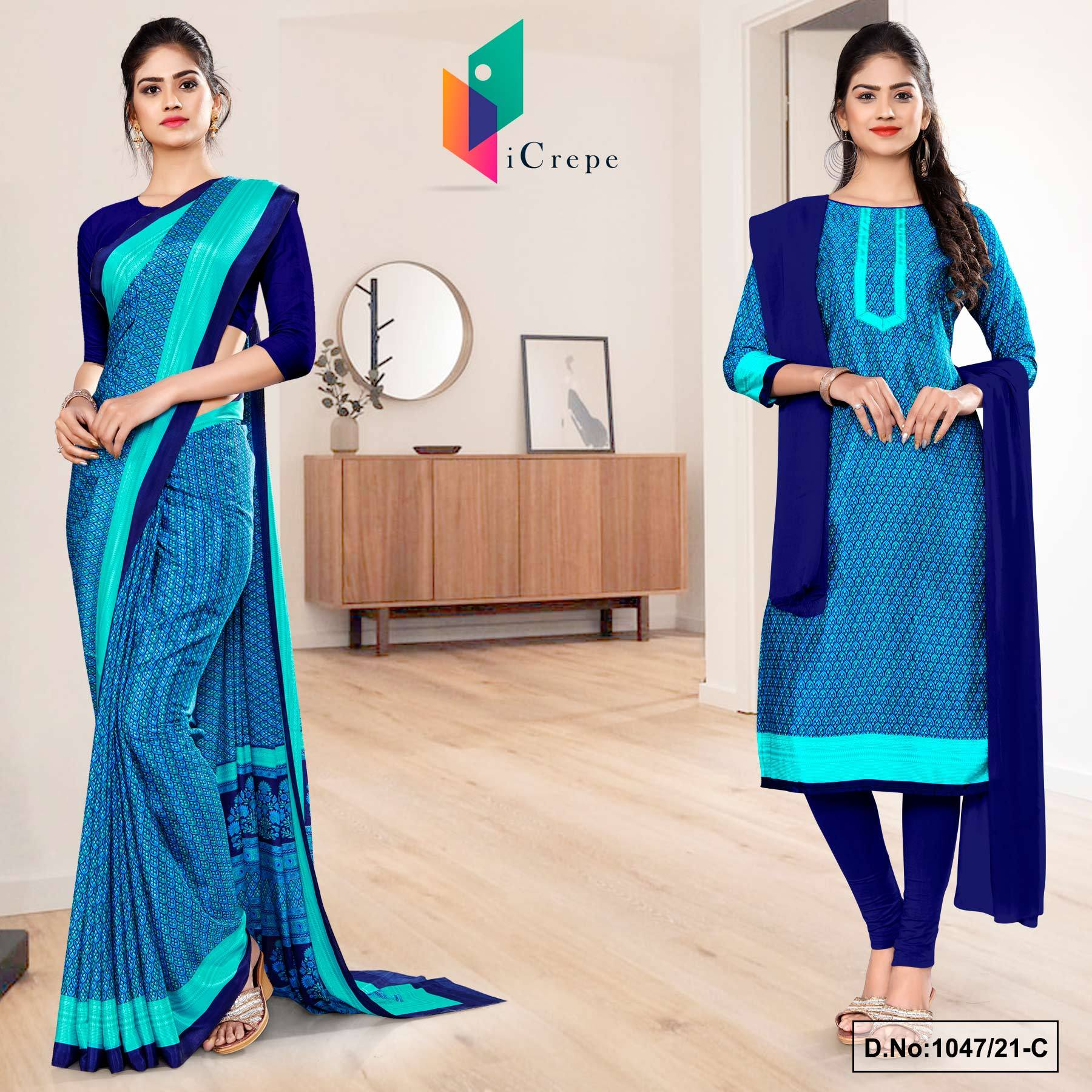 Navy Blue Sea Green Small Print Premium Italian Silk Crepe Uniform Saree Salwar Combo for Institutions