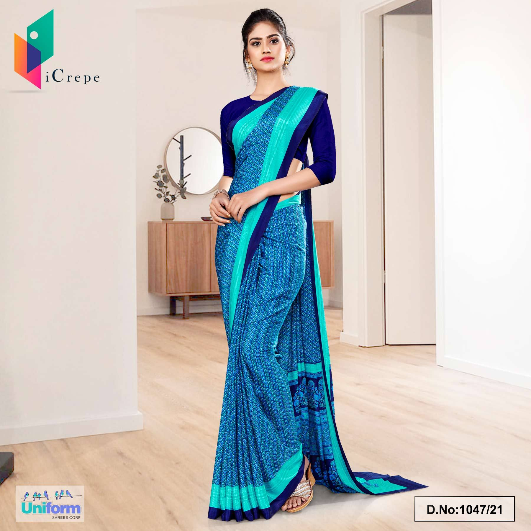 Navy Blue Sea Green Small Print Premium Italian Silk Crepe Uniform Sarees for Institutions