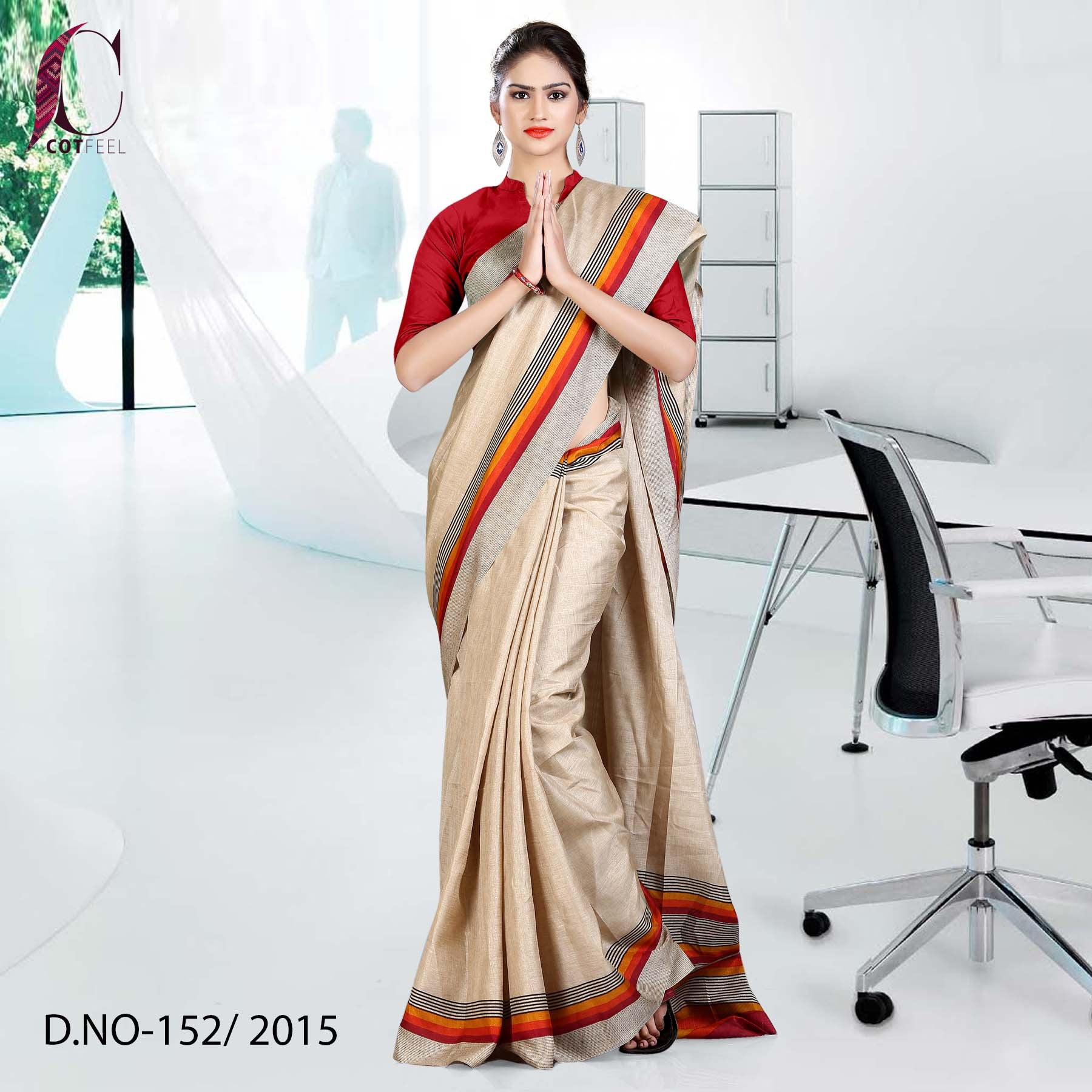 Beige with red border Tripura cotton uniform saree