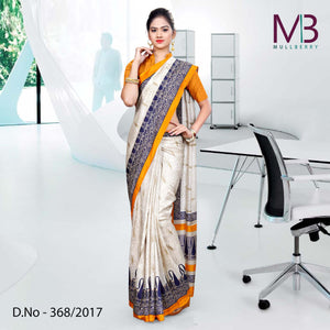 Blue-cream-Mulberry silk uniform saree
