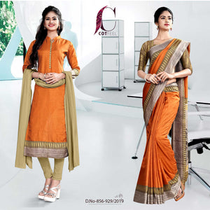 OFFWHITE AND ORANGE  FANCY SCHOOL UNIFORM SAREE SALWAR COMBO