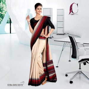 OFF WHITE AND BLACK TRIPURA COTTON INSTITUTE UNIFORM SAREE