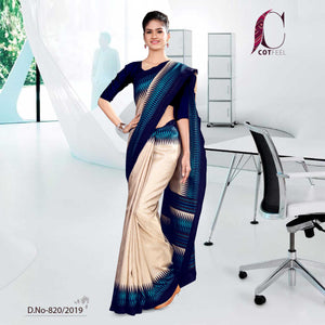 OFF WHITE AND BLUE  COTTON CORPORATE UNIFORM SAREE