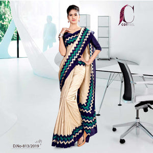 OFF WHITE AND BLUE  COTTON SCHOOL UNIFORM SAREE