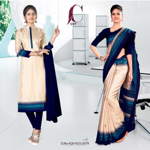 OFF WHITE AND BLUE FANCY SCHOOL UNIFORM SAREE SALWAR COMBO