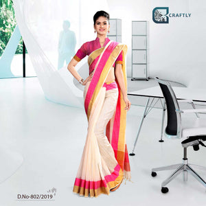 OFF WHITE AND PINK CRAFTLY COTTON CORPORATE UNIFORM SAREE
