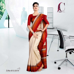 OFF WHITE AND RED  COTTON CORPORATE UNIFORM SAREE