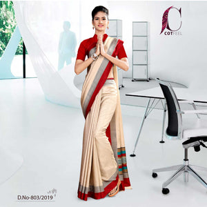 OFF WHITE AND RED  TRIPURA COTTON CORPORATE UNIFORM SAREE