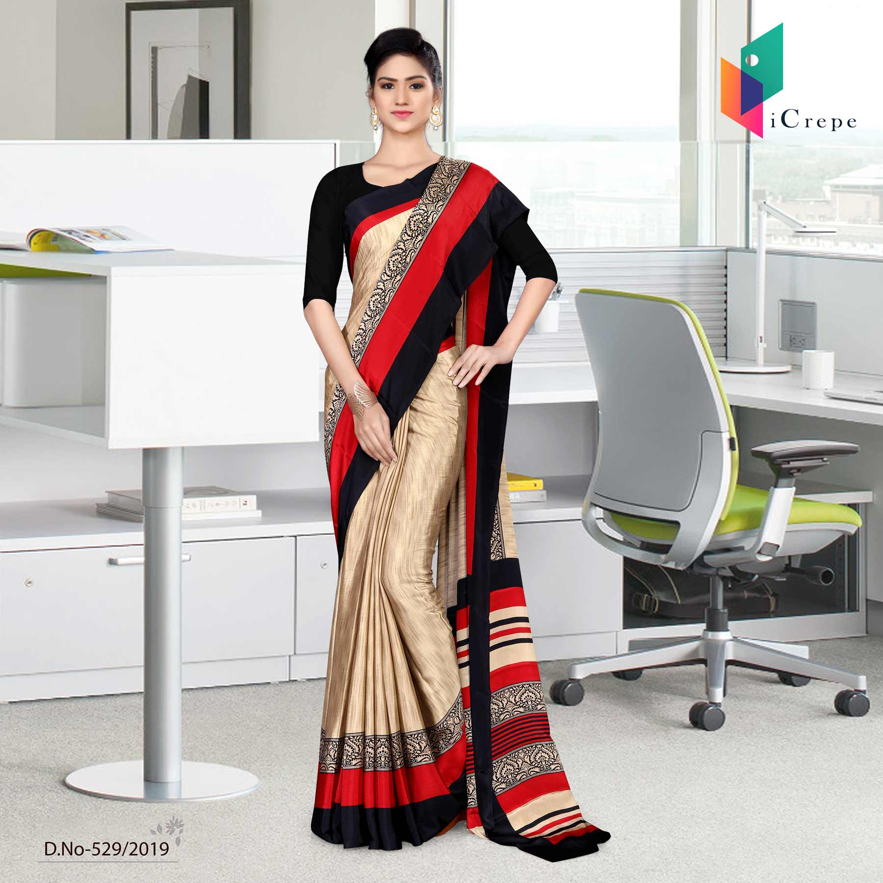 Brown and black italian crepe silk air hostess uniform saree