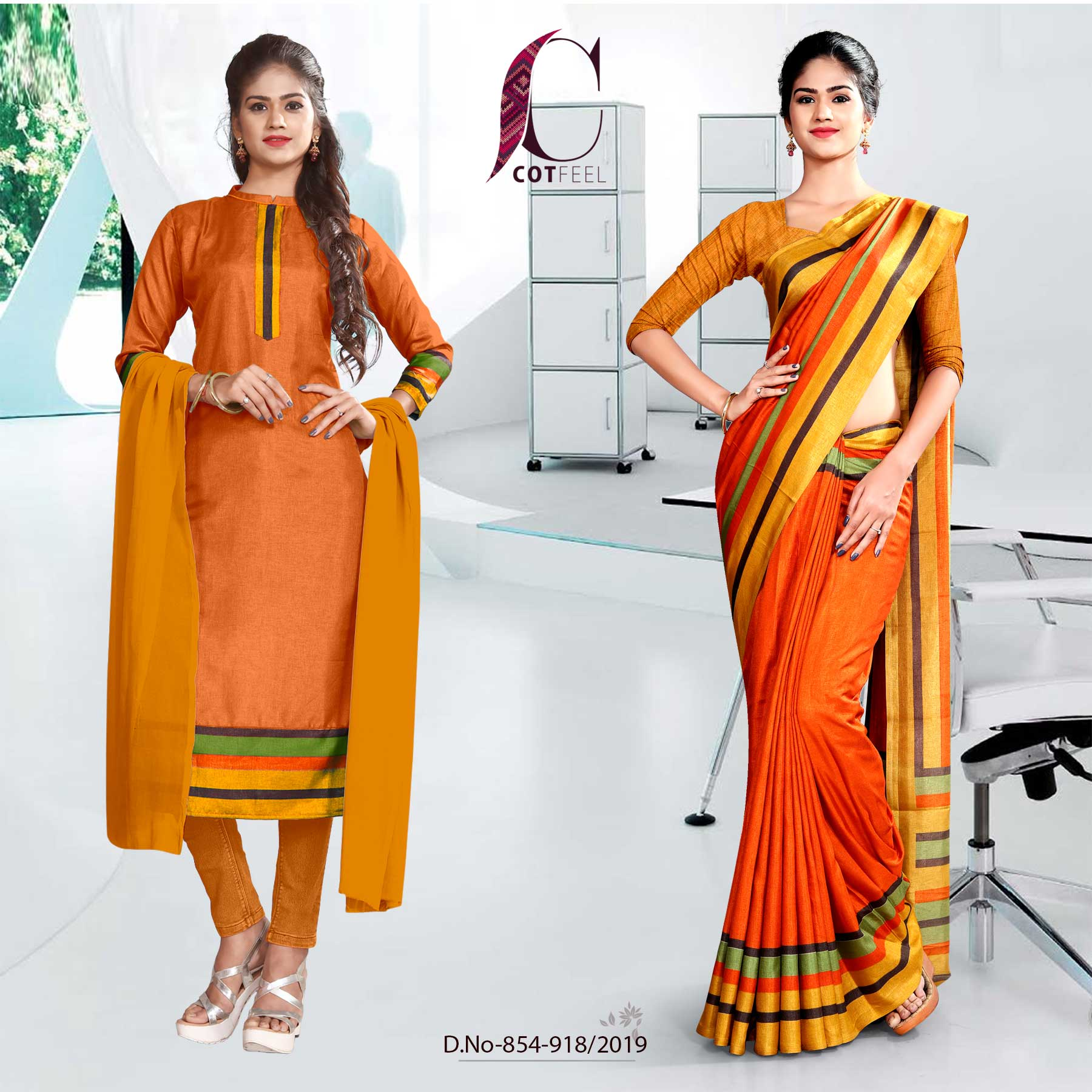 ORANGE AND YELLOW  FANCY CORPORATE UNIFORM SAREE SALWAR COMBO
