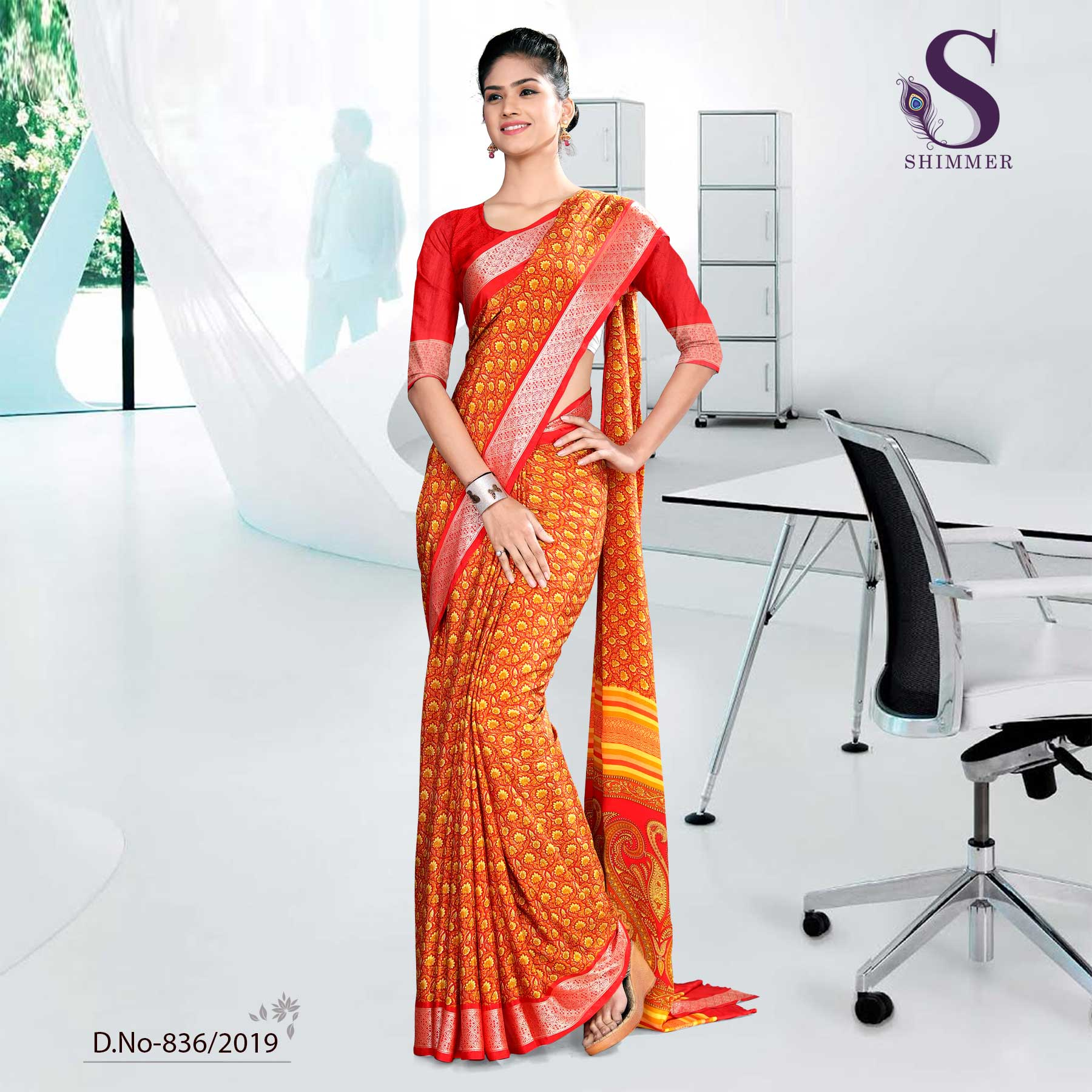 ORANGE  CORPORATE SHIMMER UNIFORM SAREES