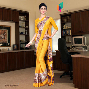 Yellow and yellow italian crepe silk corporate uniform saree