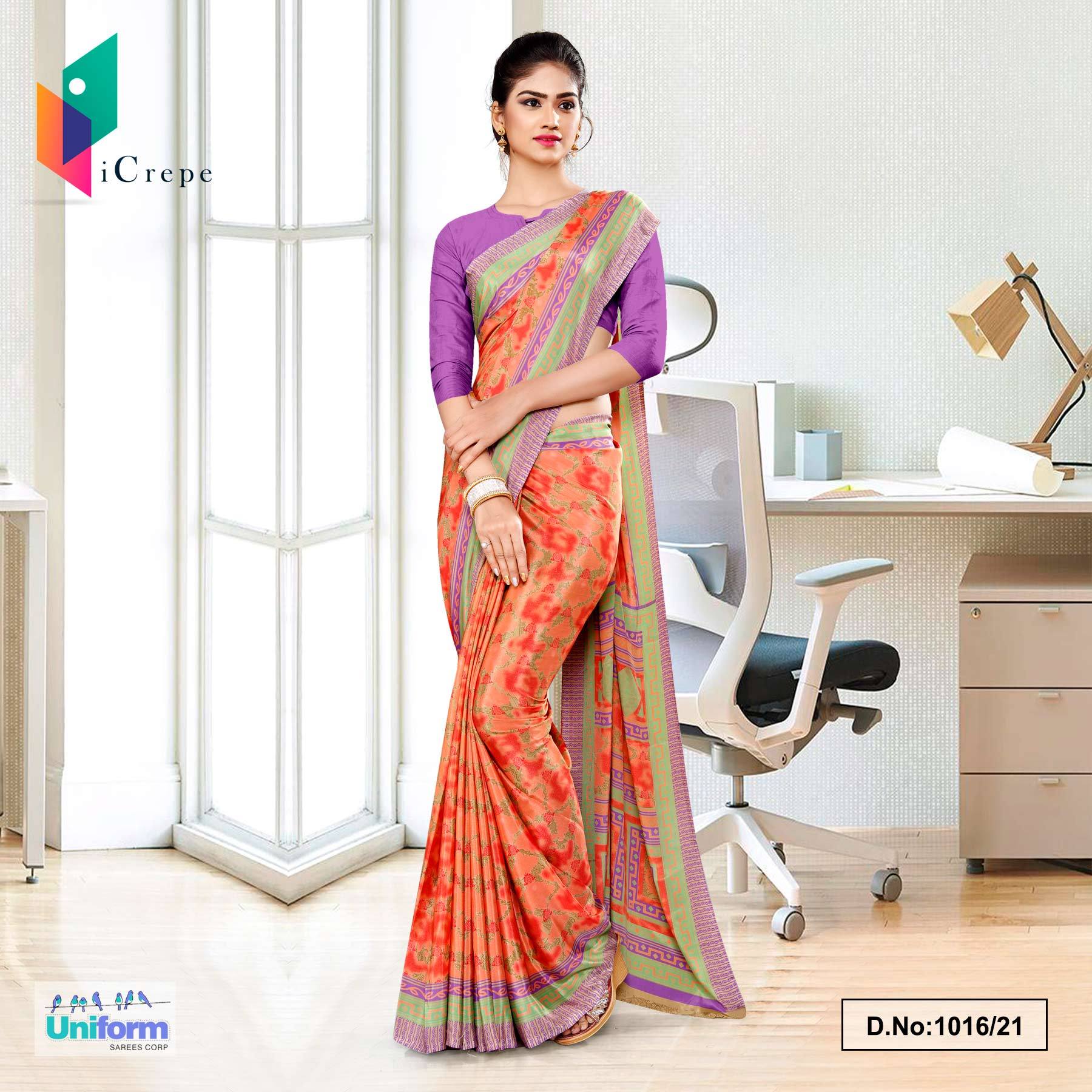 Orange Multi Print Premium Italian Slik Crepe Uniform Sarees