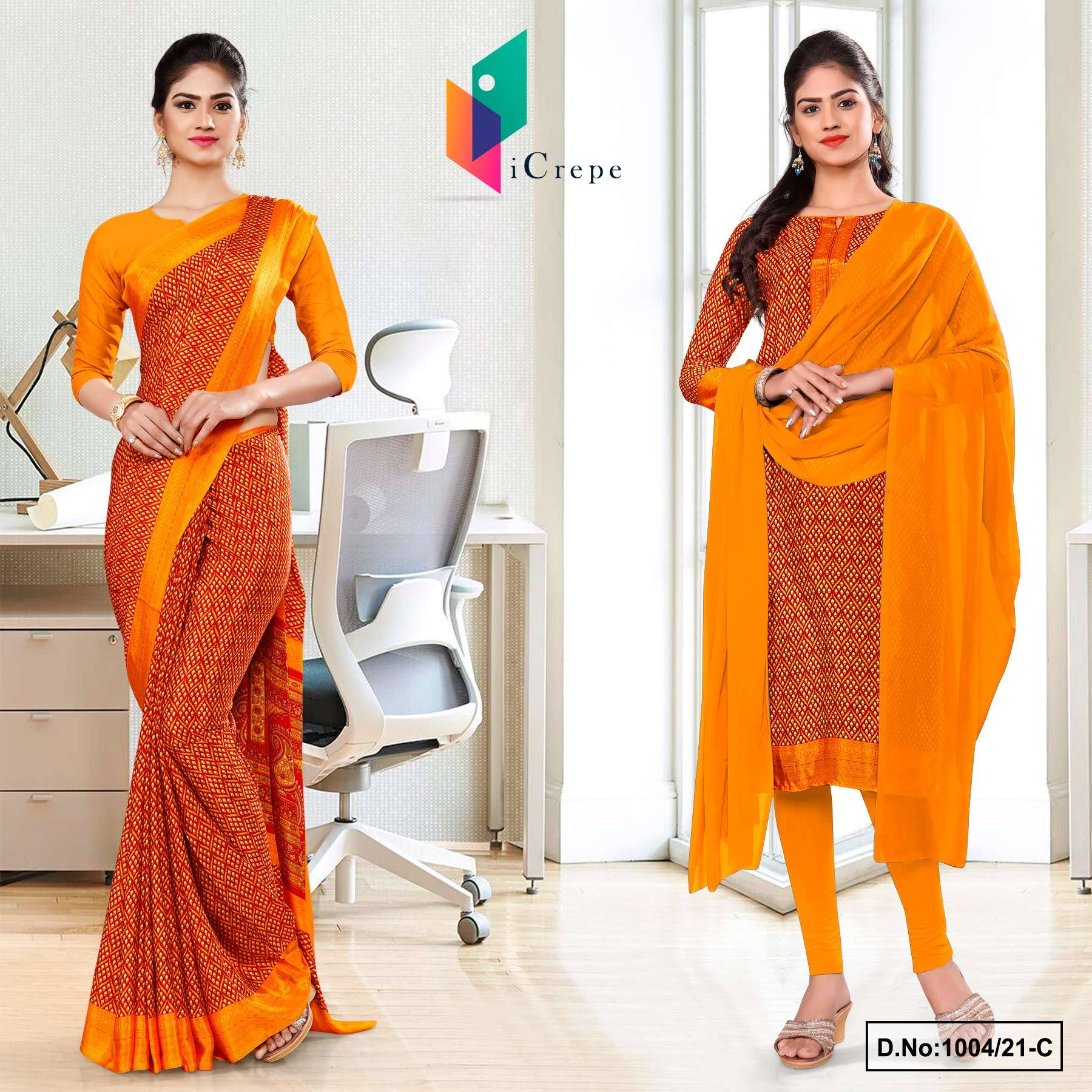 Orange Small Print Premium Italian Silk Crepe Saree Salwar Combo for Hospital Uniform Sarees