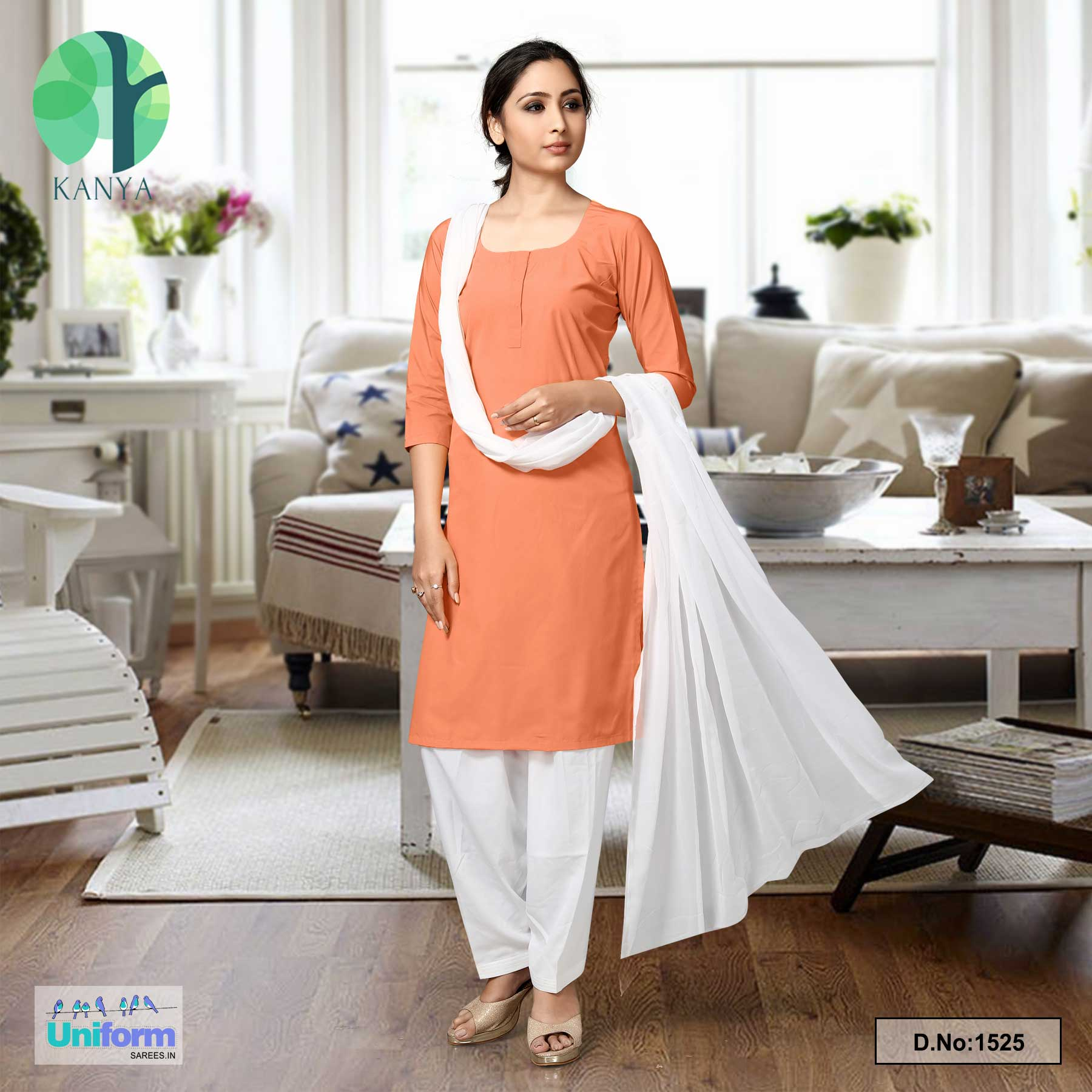 Orange White Women's Poly Cotton Unstitched Salwar Kameez Dress Materials for Hindu Patriotic Occassions
