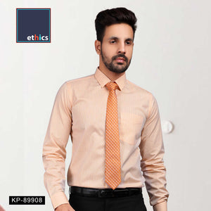 Orange Stripe Office Uniform Men's Readymade Shirt KP-89908