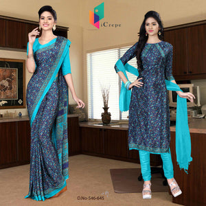 Navy blue and turquoise italian crepe silk institute uniform saree salwar combo