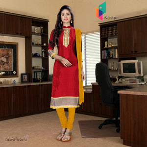 Maroon and yellow italian crepe silk college uniform salwar kameez