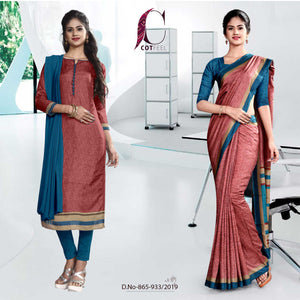 PINK AND BLUE FANCY CORPORATE UNIFORM SAREE SALWAR COMBO