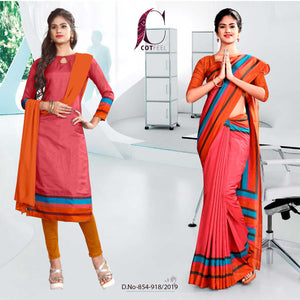 PINK AND OANGE FANCY SCHOOL UNIFORM SAREE SALWAR COMBO