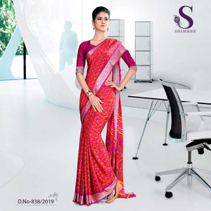PINK OFFICE SHIMMER UNIFORM SAREES