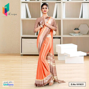 Peach Gray Premium Italian Silk Crepe Saree for School Uniform Sarees