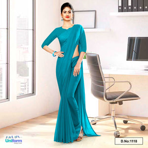 Peacock Green Soft Georgette Plain Uniform Sarees For Hotel Staff
