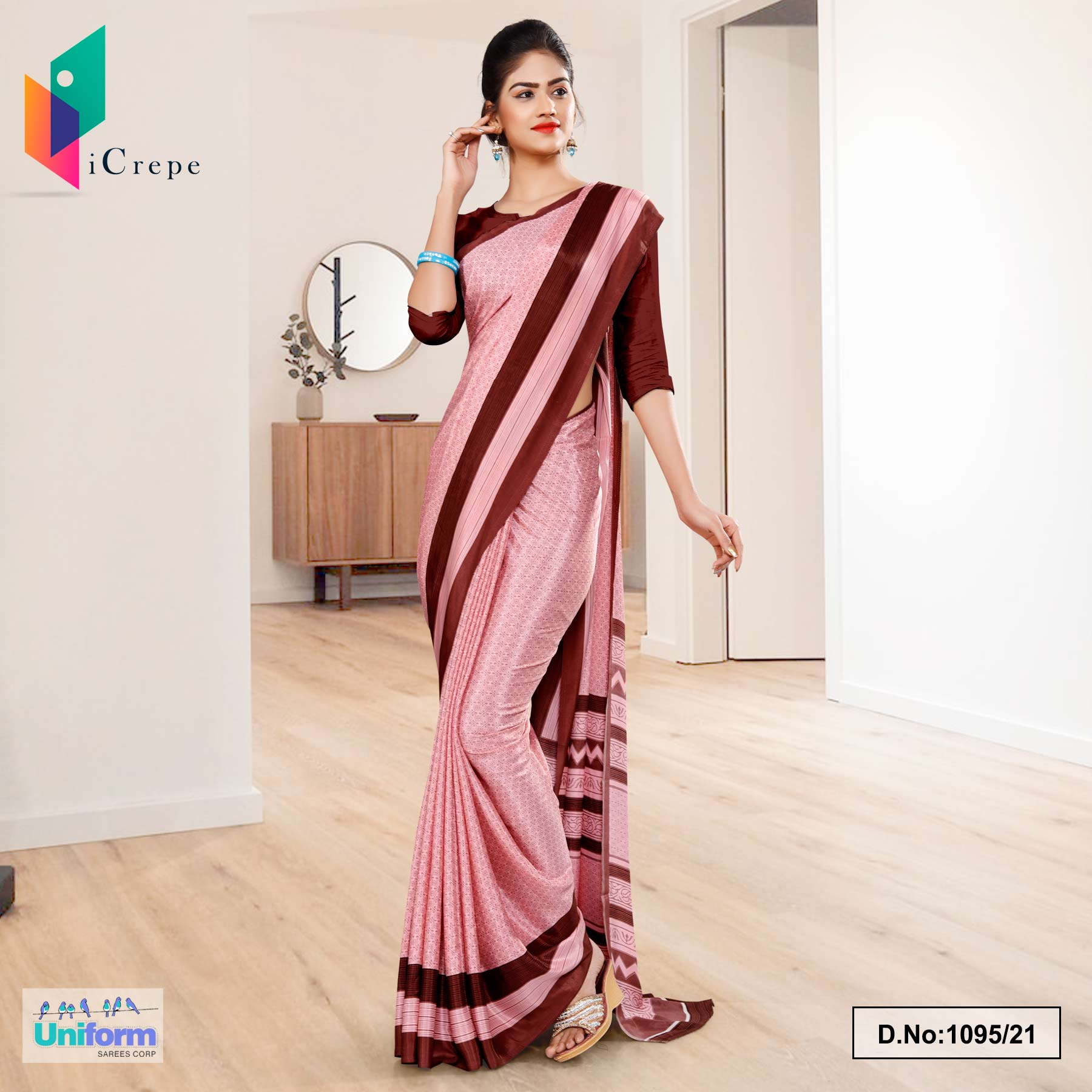 Pink Brown Premium Italian Crepe Uniform Sarees for Institutions