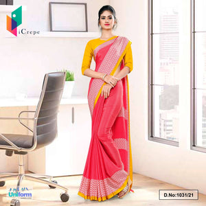 Pink Gold Premium Italian Silk Crepe Saree for Industrial Uniform Sarees