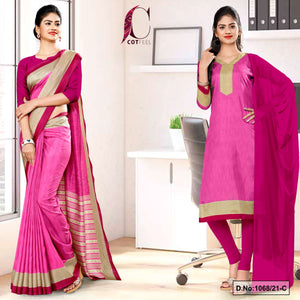 Pink Wine Plain Border Premium Polycotton CotFeel Saree Salwar Combo for Factory Uniform Sarees 1068