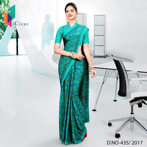 Green Fine Printed Italian crepe uniform saree