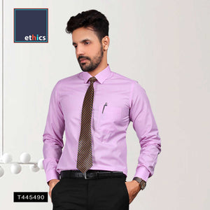 Purple Plain Readymade Uniform Shirts for Corporate Staff T445490