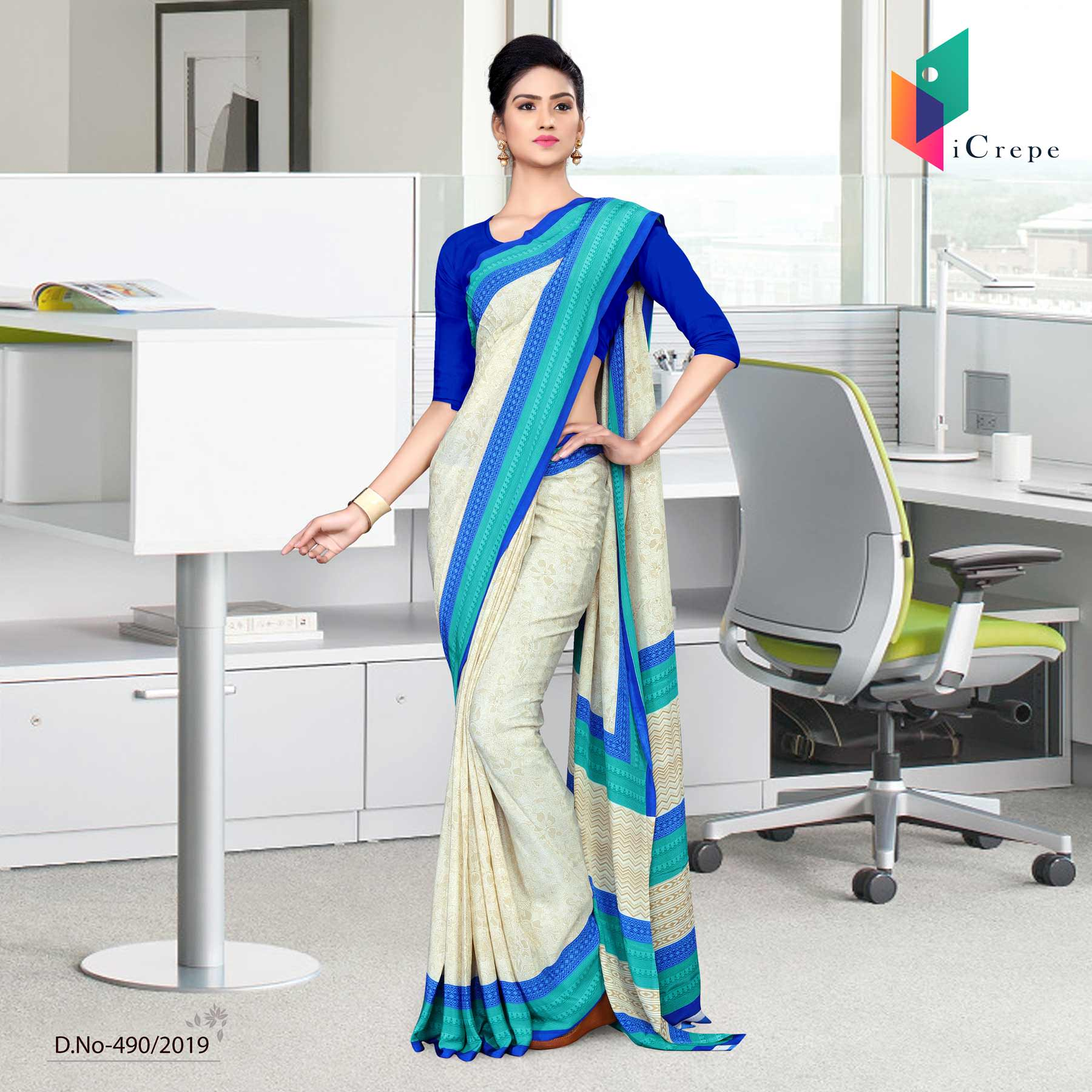 Off white and blue italian crepe silk ladies uniform saree