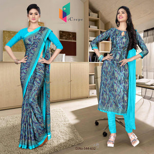 an image of  Turquoise and blue italian crepe silk school uniform saree salwar combo with product logo and sku number