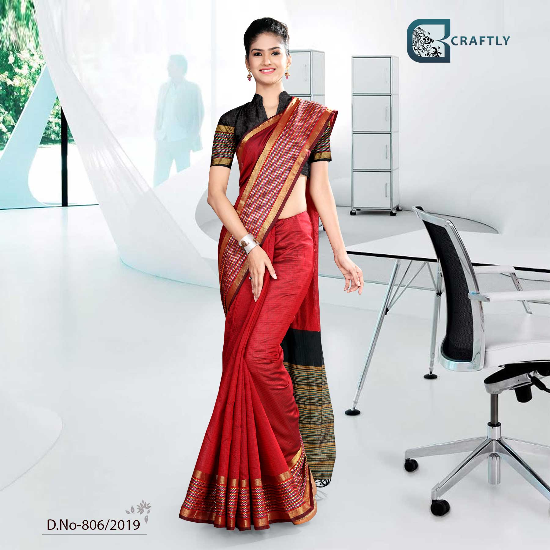 RED AND BLACK  CRAFTLY COTTON CORPORATE UNIFORM SAREE