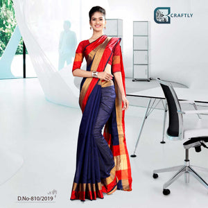 RED AND DARK BLUE CRAFTLY COTTON UNIFROM SAREE FOR INSTITUTE