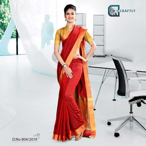 RED AND YELLOW  CRAFTLY COTTON SCHOOL UNIFORM SAREE