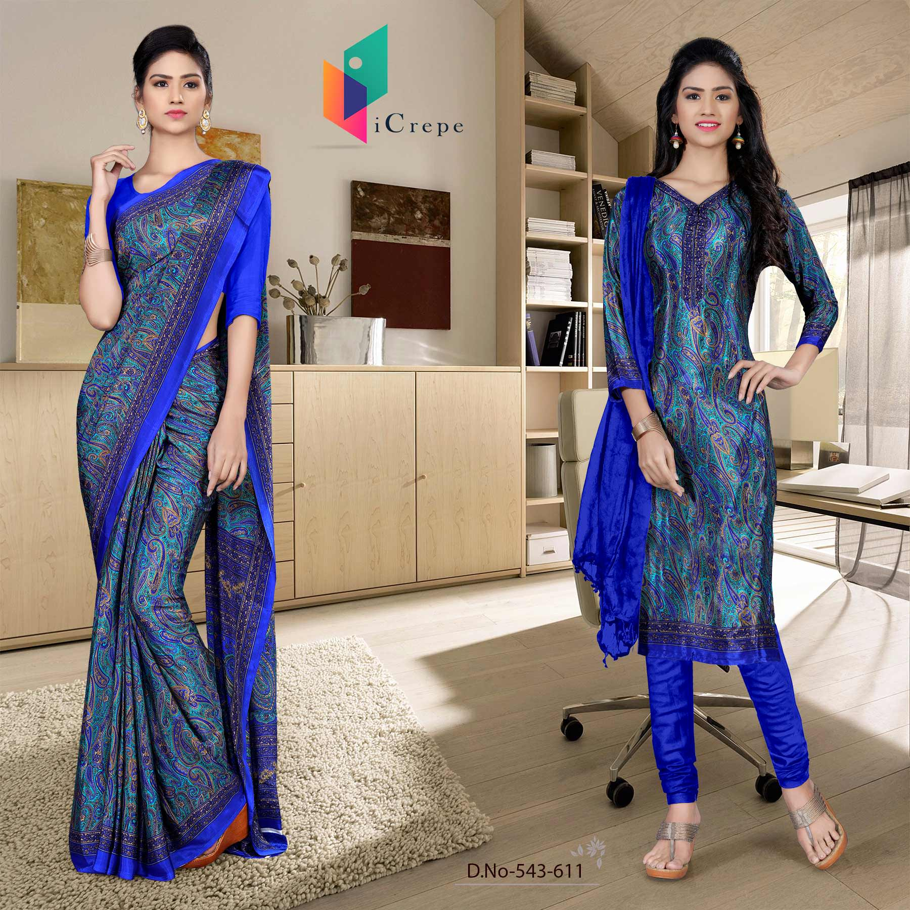 an image of  Turquoise and blue italian crepe silk fancy uniform saree salwar combo with product logo and sku number