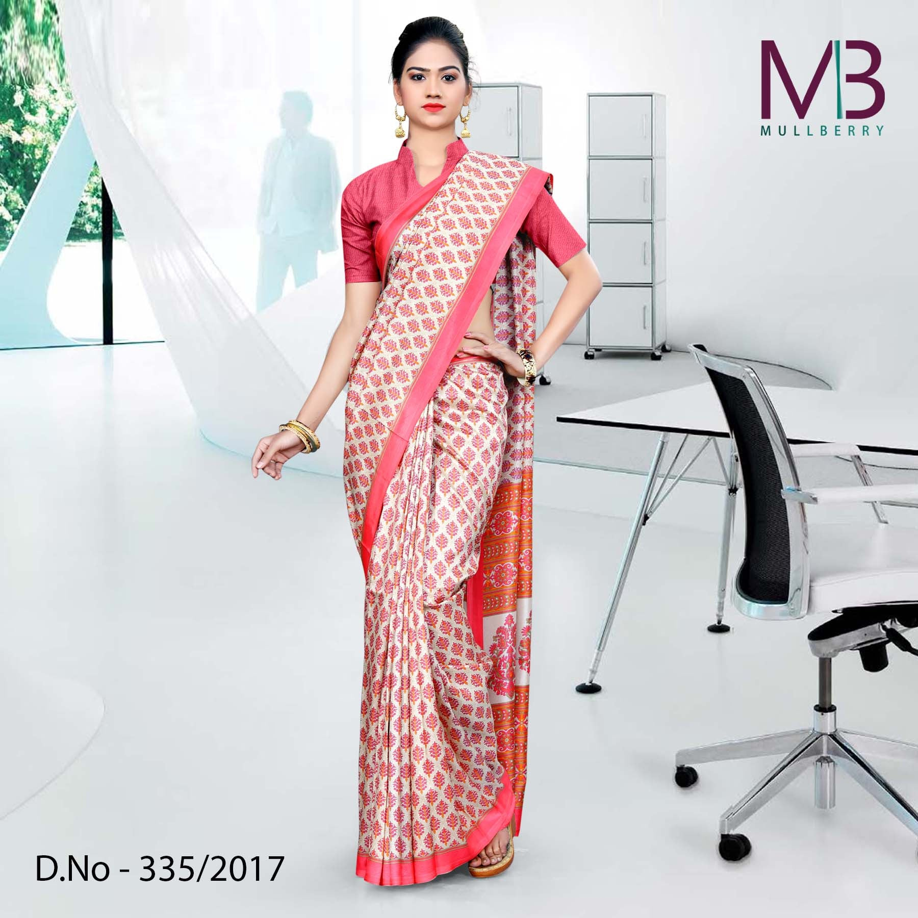 Pink and cream Mulberry silk uniform saree