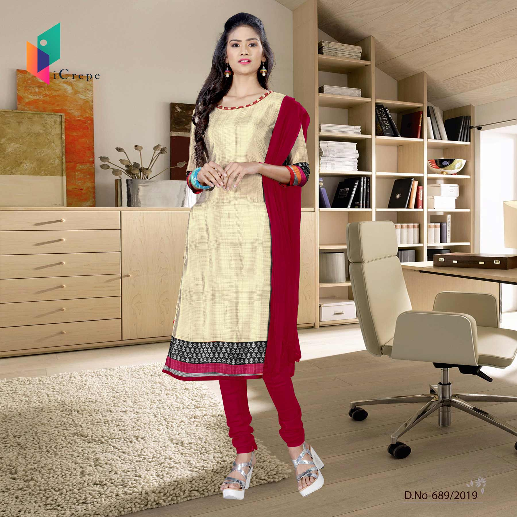 Off white and red italian crepe silk fancy uniform salwar kameez